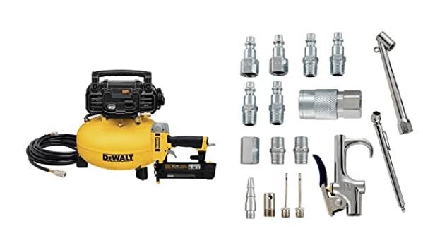 DEWALT Air Compressor Combo Kit and Brad Nailer (DWC1KIT-B) + Accessory Kit