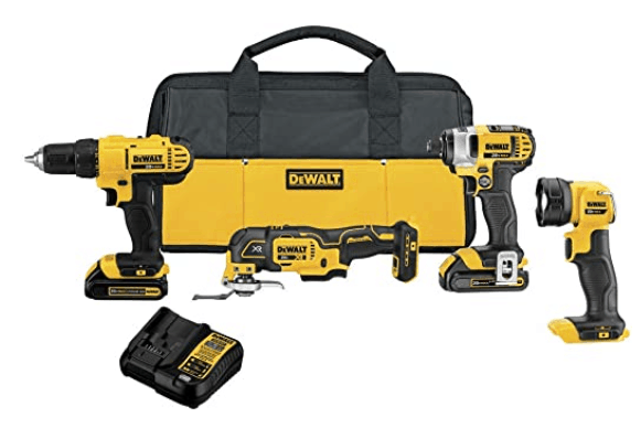 Dewalt 20V Max Cordless Combo Drill Kit. 4-Tool