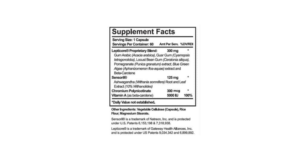 Leptisense Supplement facts