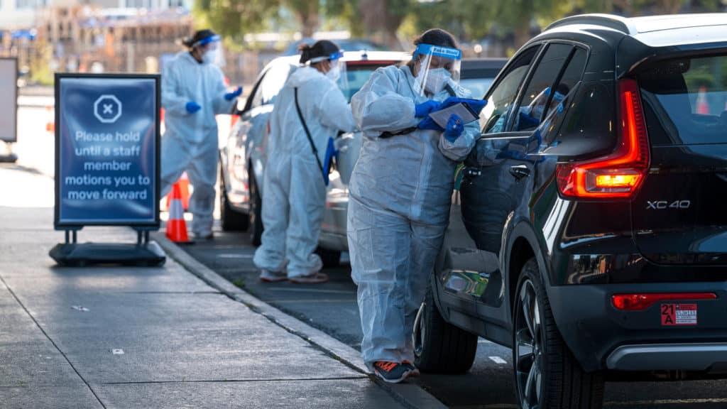 A Covid-19 Drive-Thru Testing Site As California Tightens Curbs