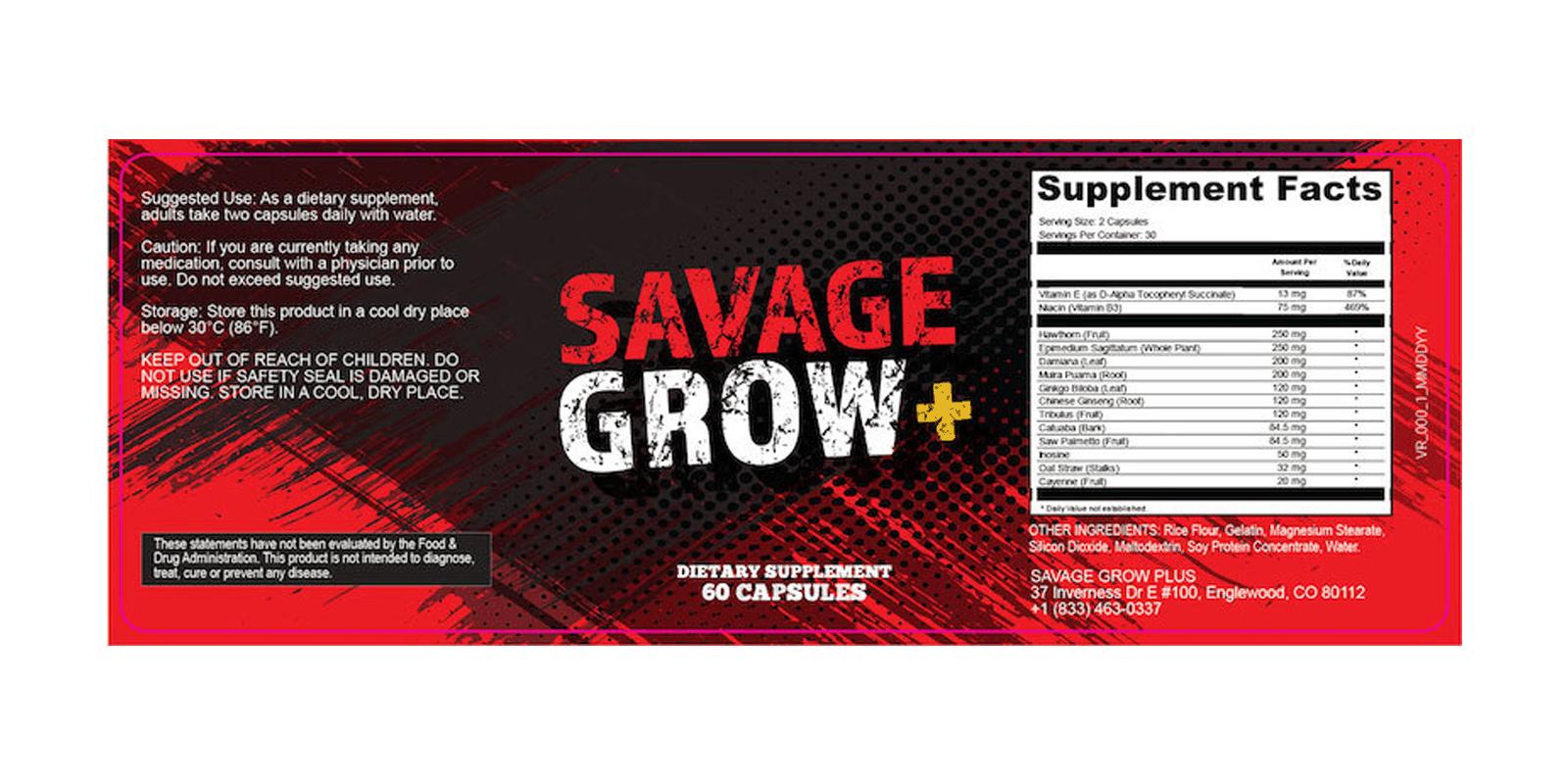 Savage Grow Plus doasage