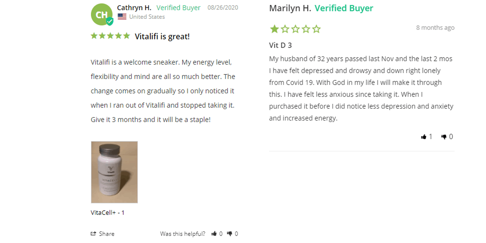 VitaCell + customer reviews