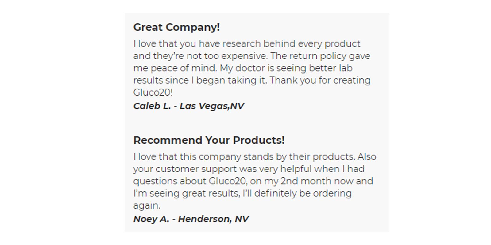 Gluco20 customer reviews