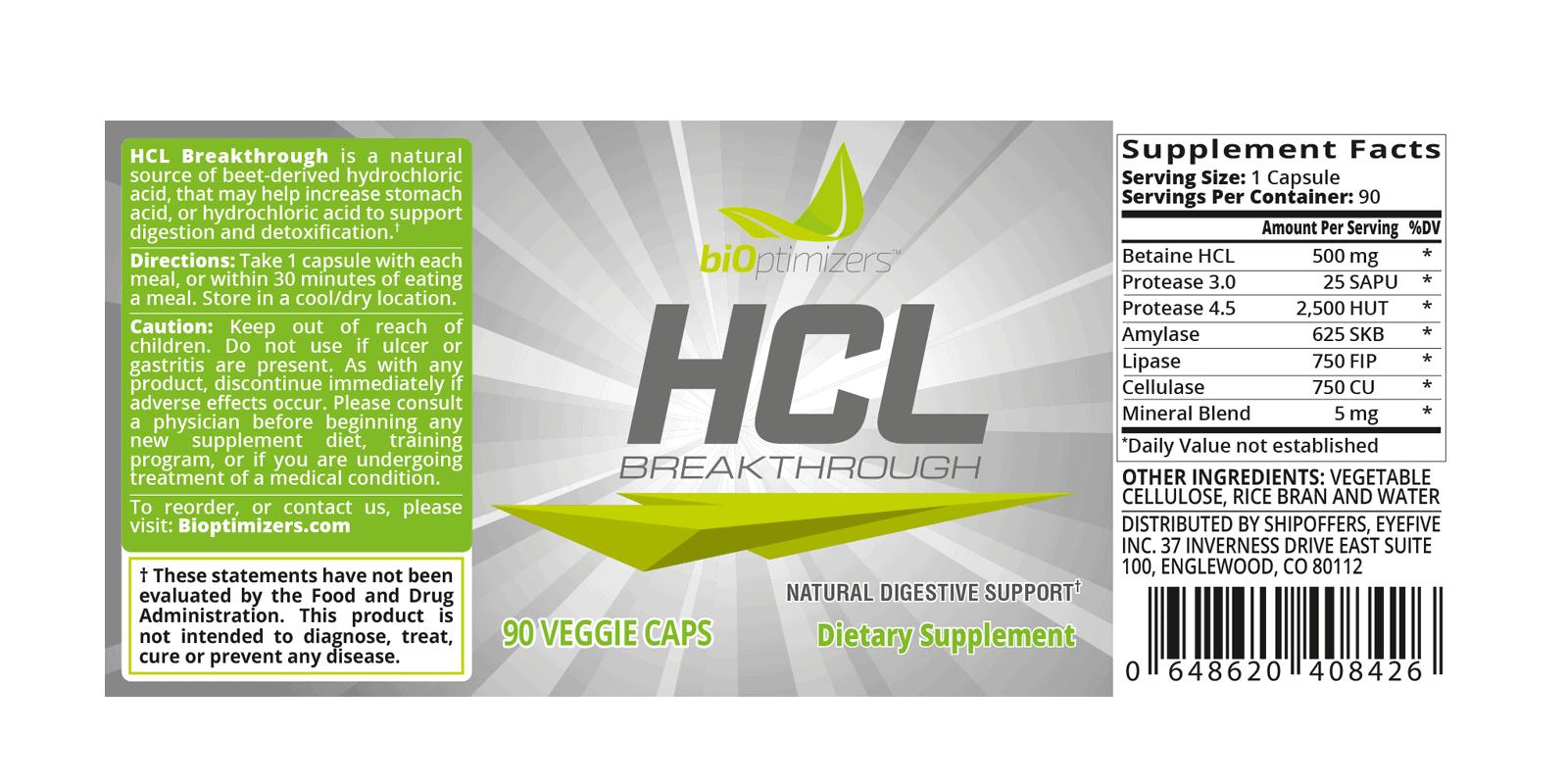 Bioptimizers HCL Breakthrough Dosage