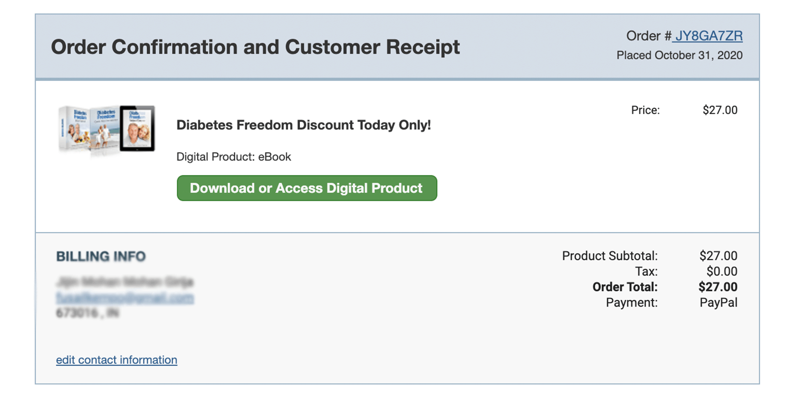 purchase of the Diabetes Freedom program
