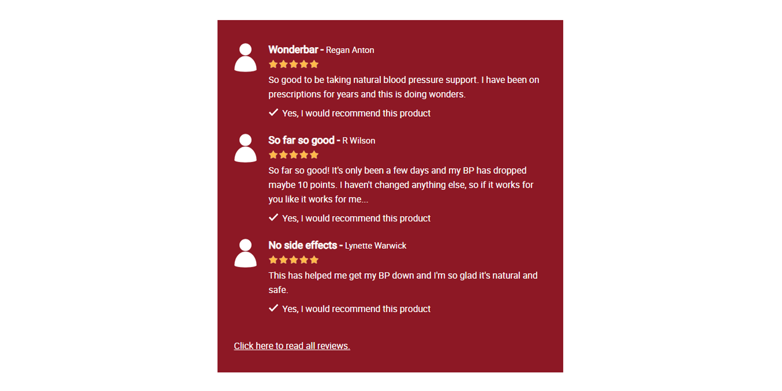 Blood Pressure Support customer reviews