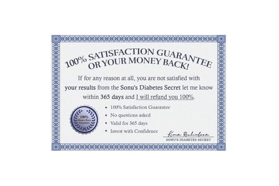 Sonu's Diabetes Secret Refund Policy