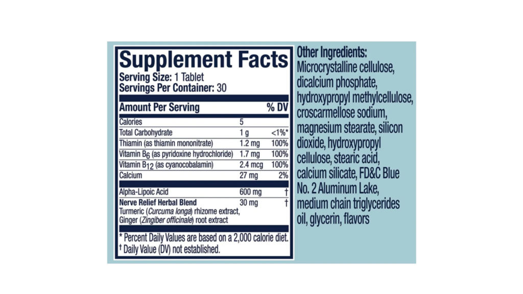 Nervive Nerve Relief supplement facts